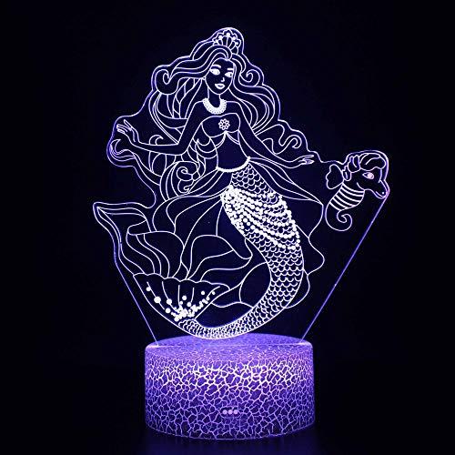Veilleuse 3D sirène LED magique, télécommande à changement de couleur – Cadeau créatif pour enfants
