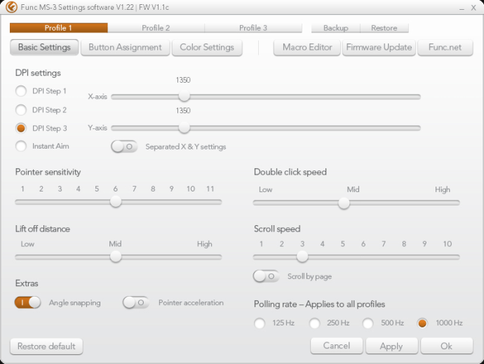 Func MS-3 Software Settings Basic Settings