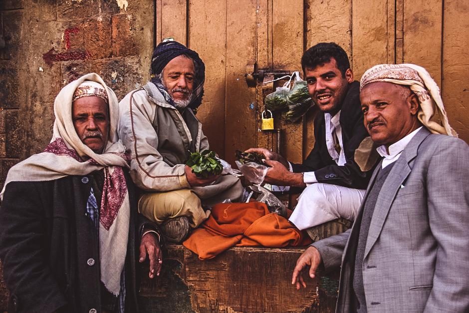 Sanaa locals buying qaat in the souq