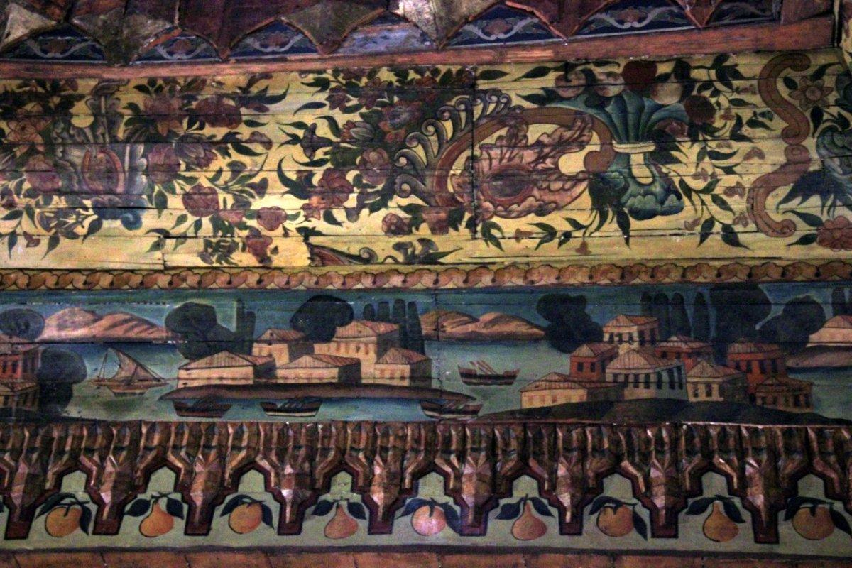 Woodwork exhibit inside Coptic Cairo Museum