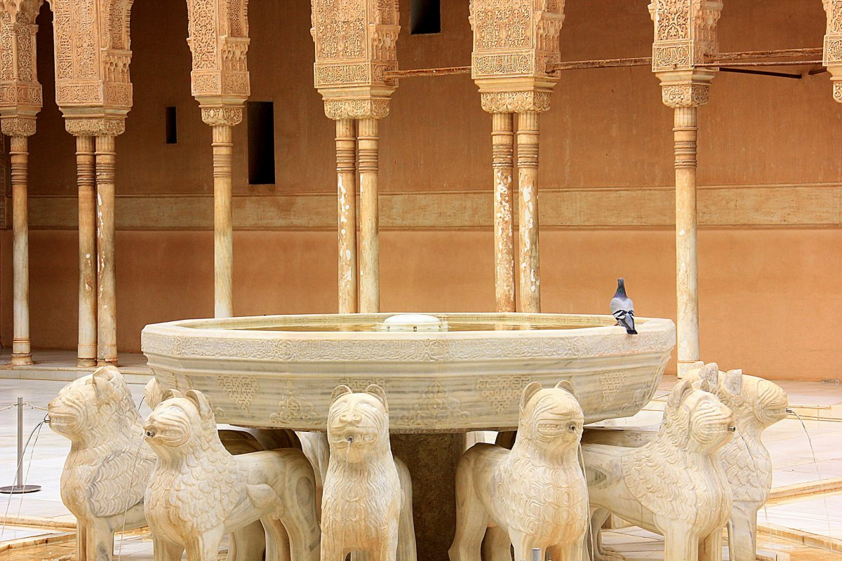 The stone lions of Alhambra which are iconic Granada