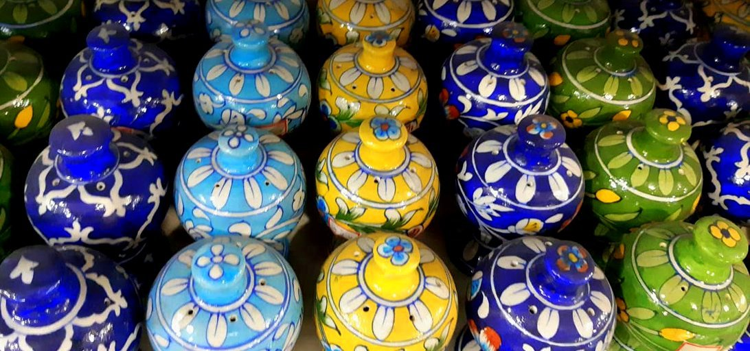 Jaipur Blue pottery on display outside a shop near Jal Mahal