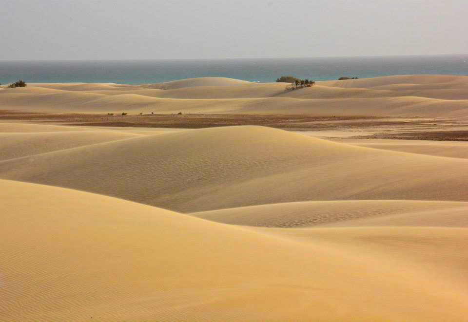 The sea starts at the end of the dunes of Zahak