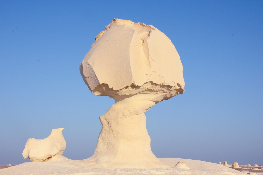 One of the famous chalk formations that dot the White Desert