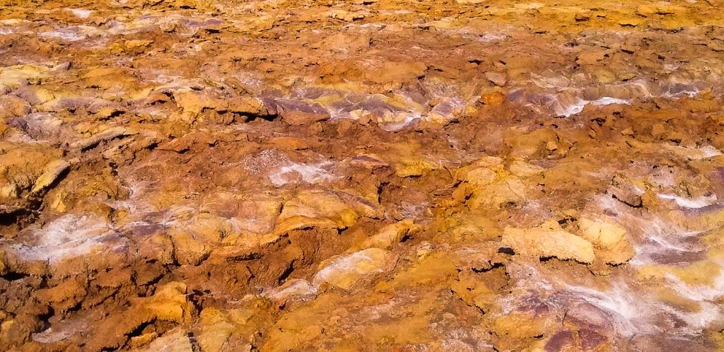 Mineral deposits near Dallol Volcano in Danakil Depression