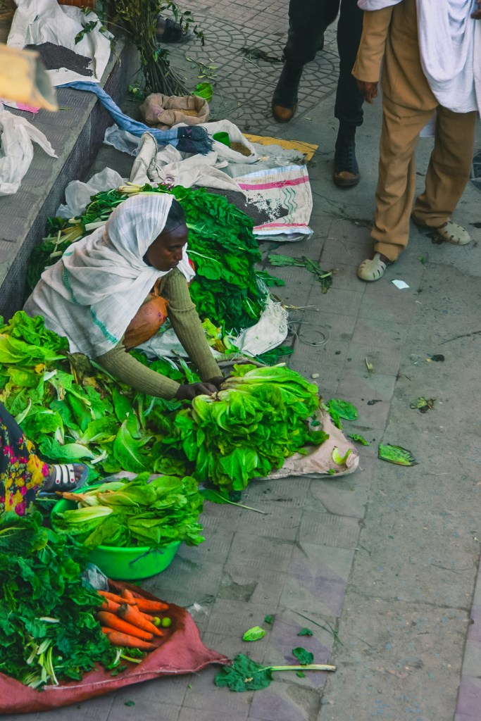 A woman selling greens at Mekelle in Ethiopia