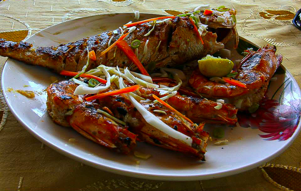 Seafood at one of the waterfront shacks in Fort Cochin