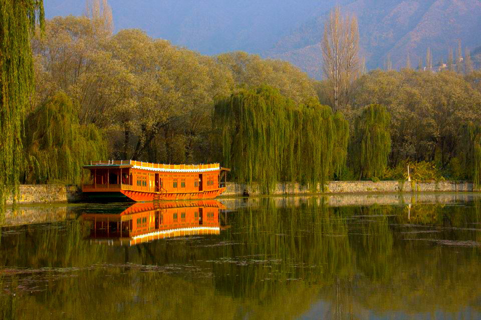 Beautiful reflections on the Dal Lake in Kashmir