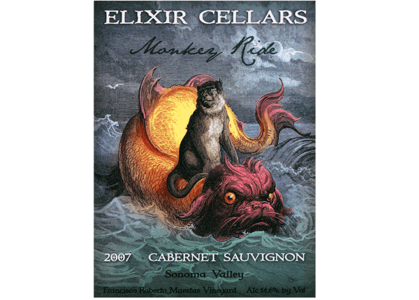 Wine Bottle Label for Elixir Cellars