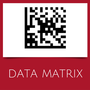 Barcode with data matrix symbology