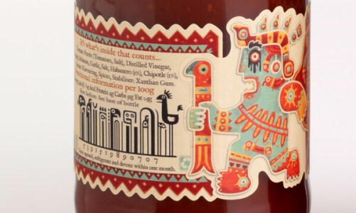 Mic's Chili BBQ sauce bottle with Incan characters on the barcode design