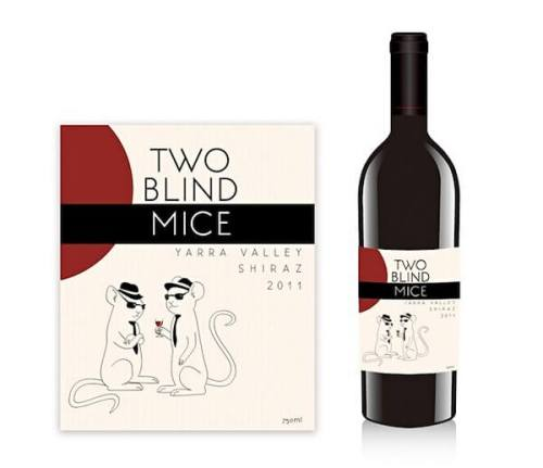 Two Blind Mice creative wine label design