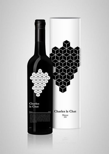 Charles le Chat creative geometric wine label design