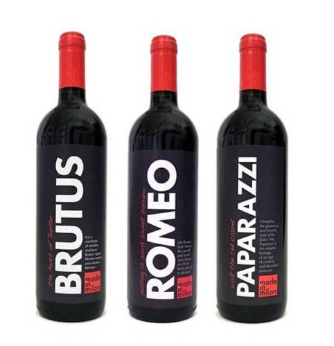 Made in Milan creative wine label