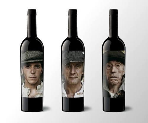 Matsu creative wine label featuring aging man portrait