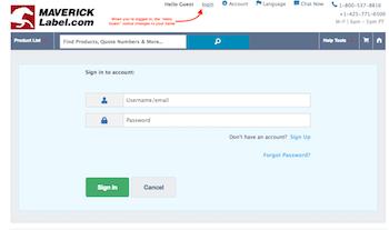 Account login screen
