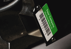anodizied metal asset tag on equipment