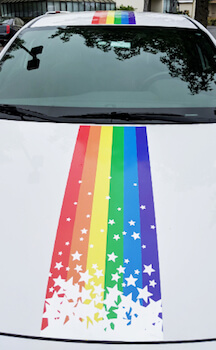Rainbow banner first day