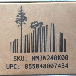 barcode with Jeep, mountain, tree