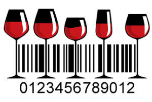 The stems of tall red wine glasses are incorporated into this barcode design