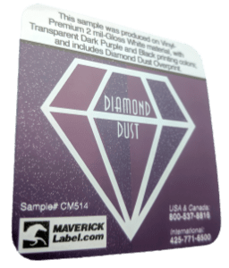 Diamond dust label at an angle