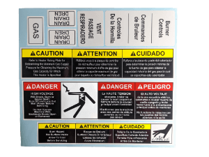 Caution label kit with 8 labels