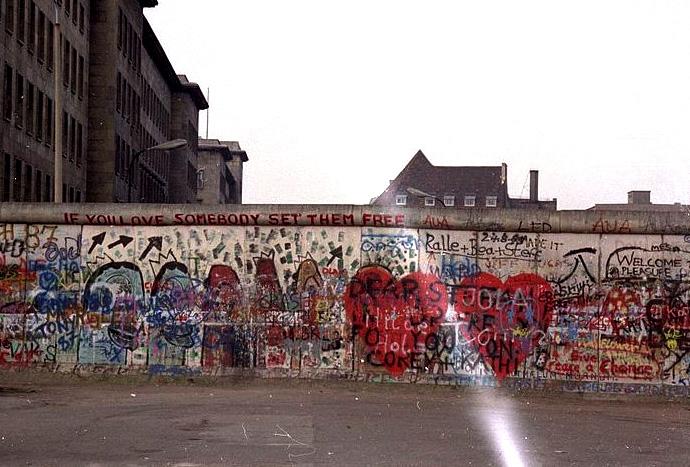 Caída el muro de Berlín, imagen del muro en 1988