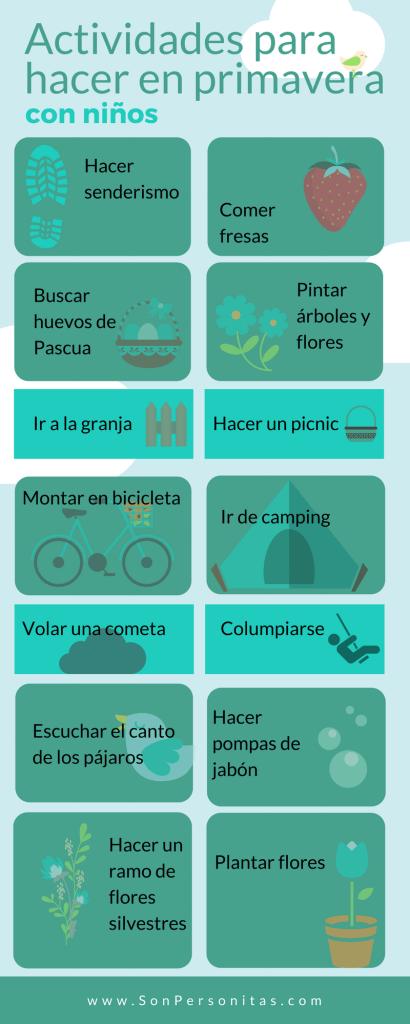 Infografía de actividades en primavera