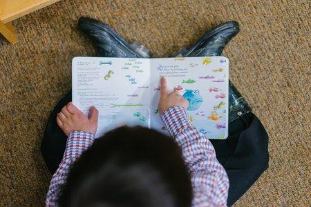 niño leyendo un libro con ilustraciones para la adquisicion de la segunda lengua