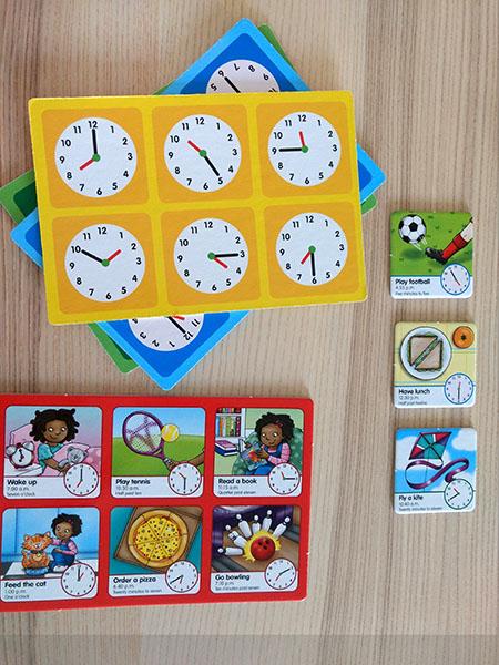 Juego de mesa educativo para aprender inglés, Tell the time.