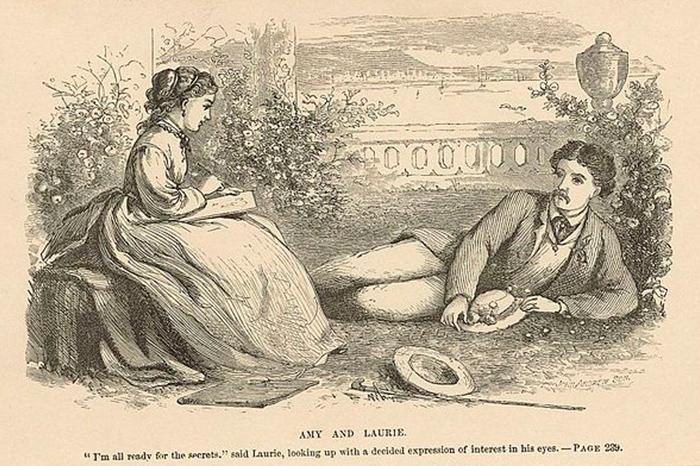 Análisis de literario de Mujercitas, de Louisa May Alcott. Imagen de la portada de la segunda parte con Amy y Laurie.