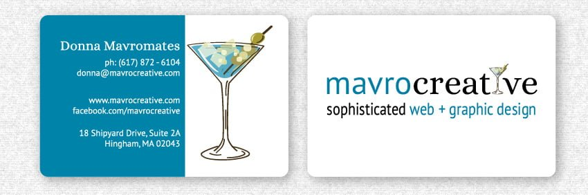 Business Card Design, Rounded Corners, by MavroCreative in Hingham MA