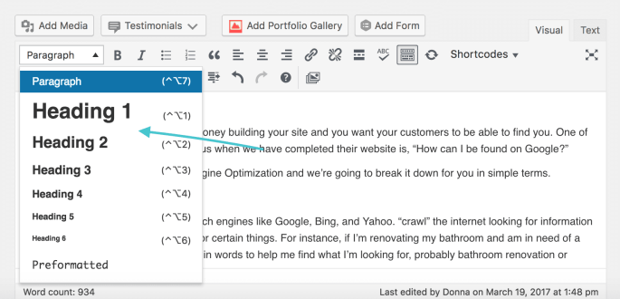Showing how to change Heading Tags for SEO
