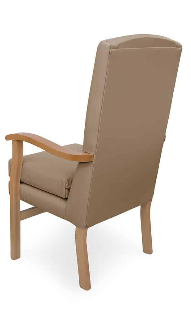 Mawcare - The Deepdale - high seat orthopedic fireside Armchair in Richmond Mushroom fabric.