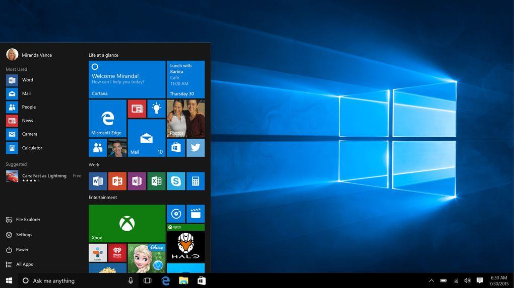 """Windows 10 (العام 2015) - أعادت مايكروسوفت قائمة """"ابدأ"""" .. تم إضافة العديد من المزاي والبرامج، مثل المساعد الشخصي كورتانا، ومتصفح إيدج الجديد .. مايكروسوفت عملت أيضاً على توحيد تجربة ويندوز، حيث أصبح نظام واحد يعمل على المنصات المختلفة."""