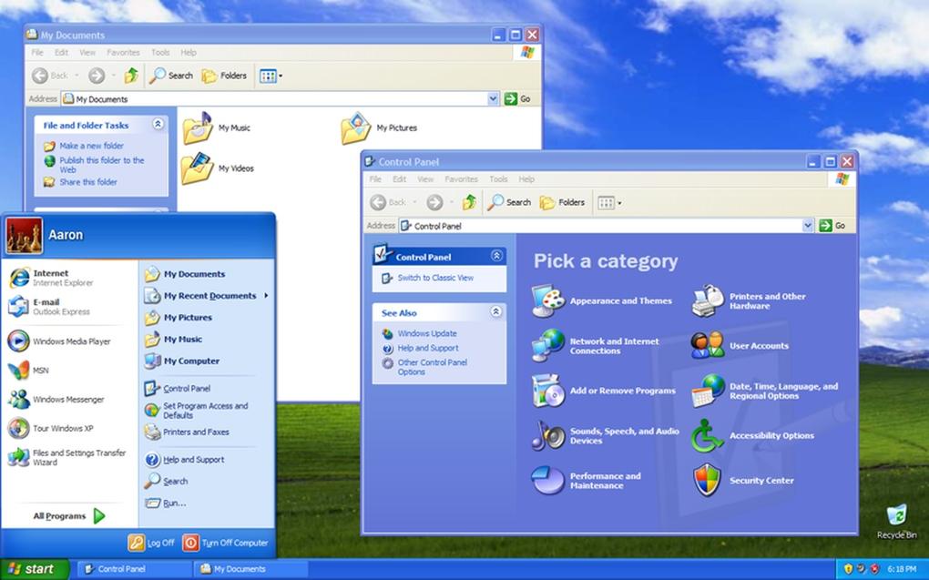 Windows XP (العام 2001) - ويندوز إكس بي كان يمثل طفرة في تحسين واجهة الاستخدام .. كما يجمع أيضاً بين تجربة الاستخدام الشخصي وقطاع الأعمال.