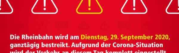 Am Dienstag 29.09.2020 wird die Rheinbahn bestreikt - Die Pflicht zum Schulbesuch besteht unverändert fort!