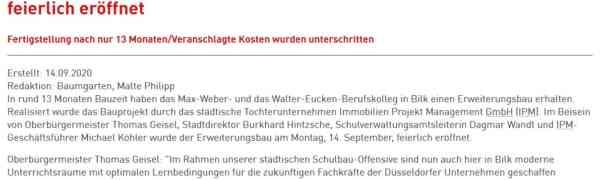 Bericht und Video der Stadt Düsseldorf zur Einweihung des Neubaus am MWBK
