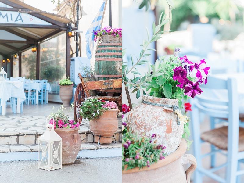 Pink Flowers in Pots at Mamma Mia Taverna in Nidri Lefkada