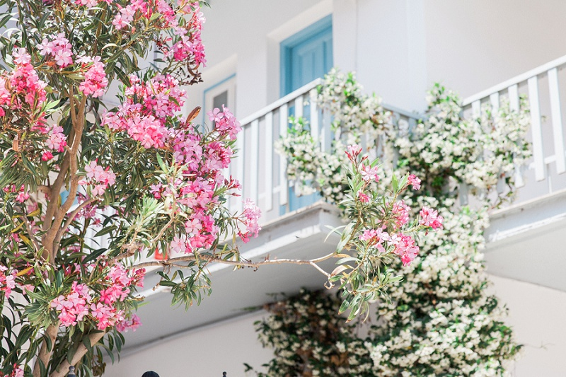 Agios Nikitas Village With Blue Balconies and Pink Flowers