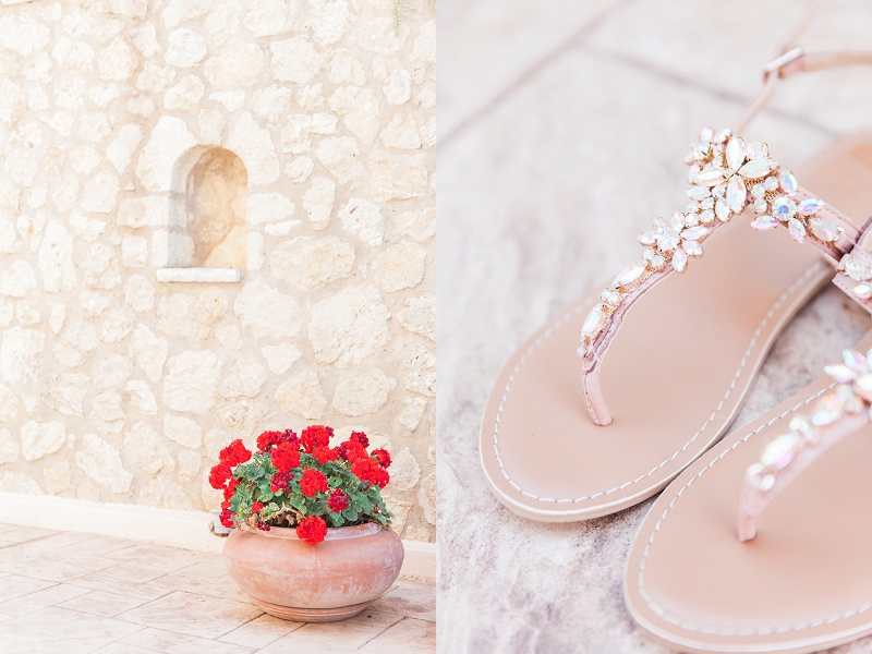 Brides Sparkly Shoes at Thea Resort on Lefkada
