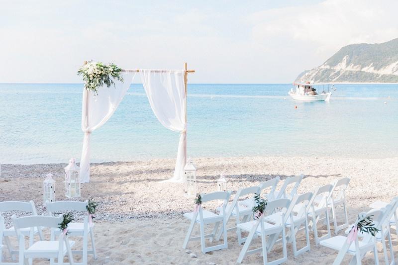 Pastel Beach Wedding Ceremony Arch at Agios Nikitas Lefkada