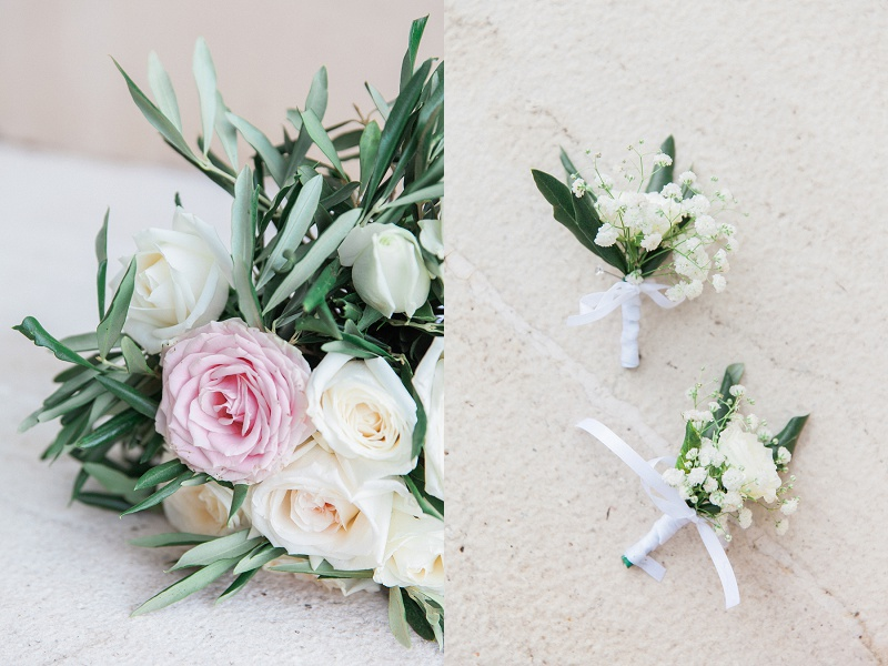 Bridal Bouquet and Grooms Button Holes with Blush and Cream Roses
