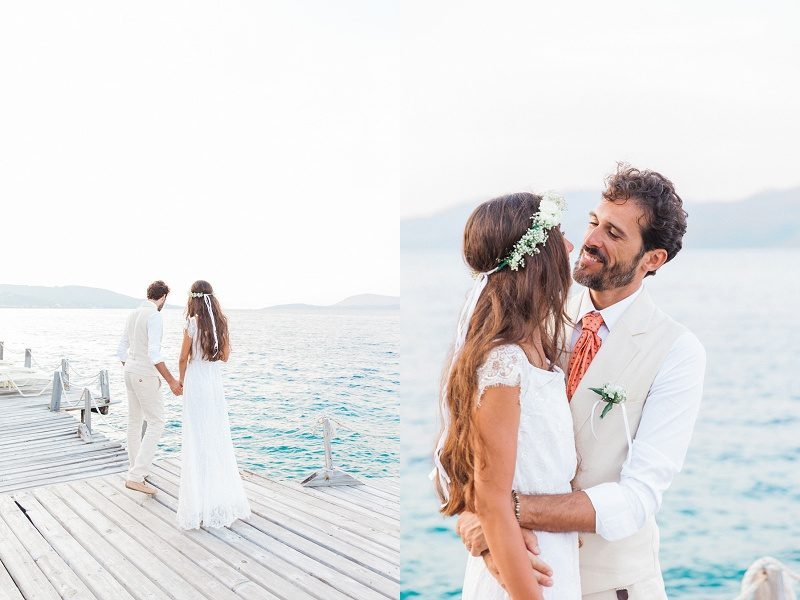 Bride and Groom on the Jetty at Ionian Blue Hotel
