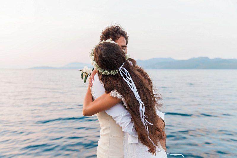 Brides Beautiful Long Hair with Ribbons