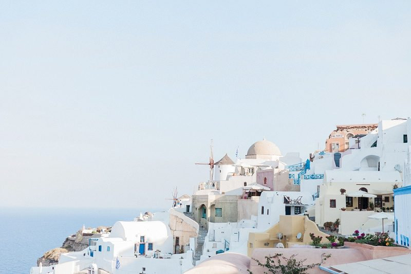View of the Windmill and Buildings of Oia Santorini