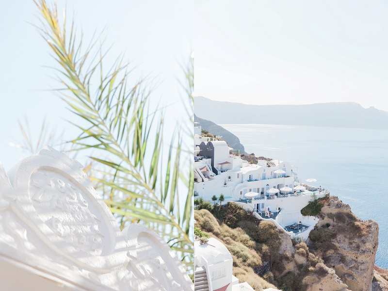 Palm Fronds and Umbrellas on the Cliffs of Santorini