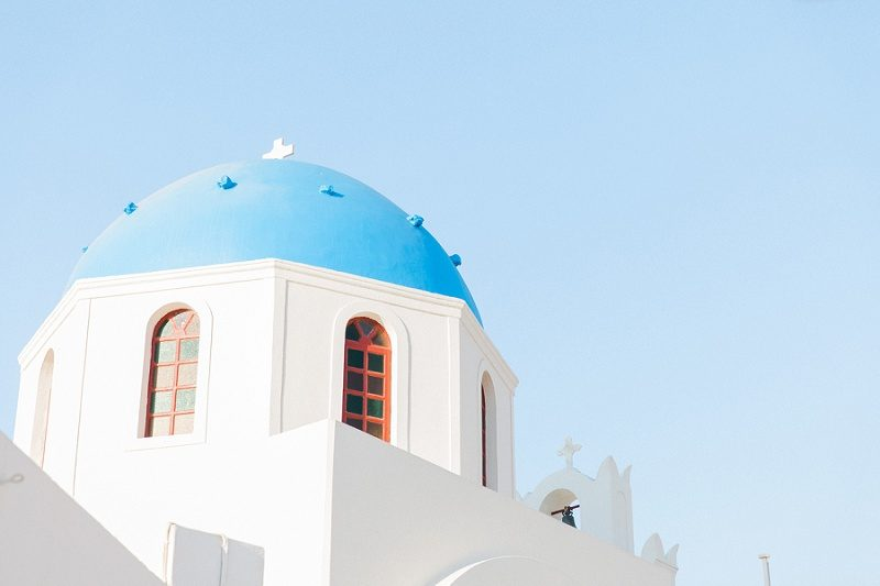 Blue and White Domed Church in Oia Santorini