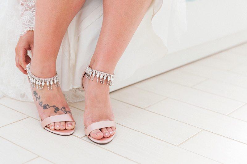 Beautiful Blush and Diamonte Heels on the Bride