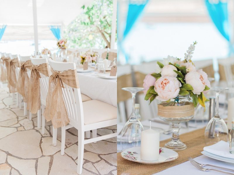 Chairs with Rustic Tie-Backs and Close Up of Candles